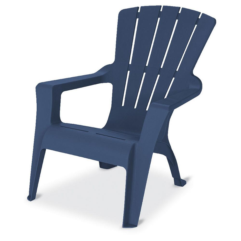 Midnight Resin Plastic Adirondack Chair 240858 The Home Depot
