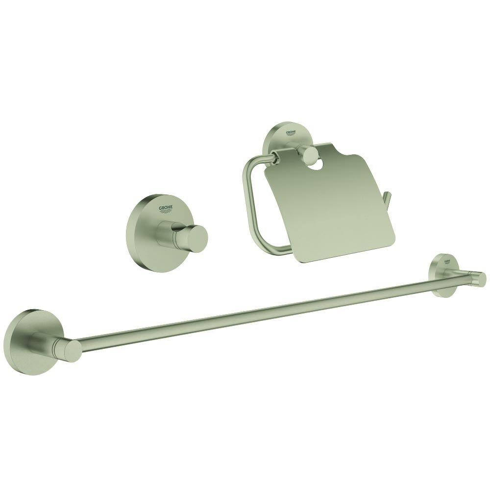 Essentials Guest Bathroom 3-Piece Bath Hardware Set in Brushed Nickel