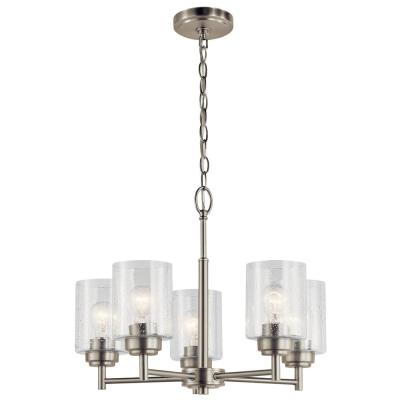 Winslow 5-Light Brushed Nickel Chandelier with Clear Seeded Glass Shade