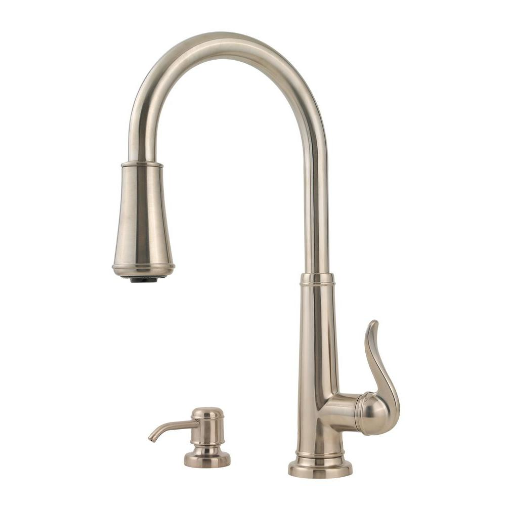 Delightful Pfister Ashfield Single Handle Pull Down Sprayer Kitchen Faucet In Brushed  Nickel GT529YPK   The Home Depot