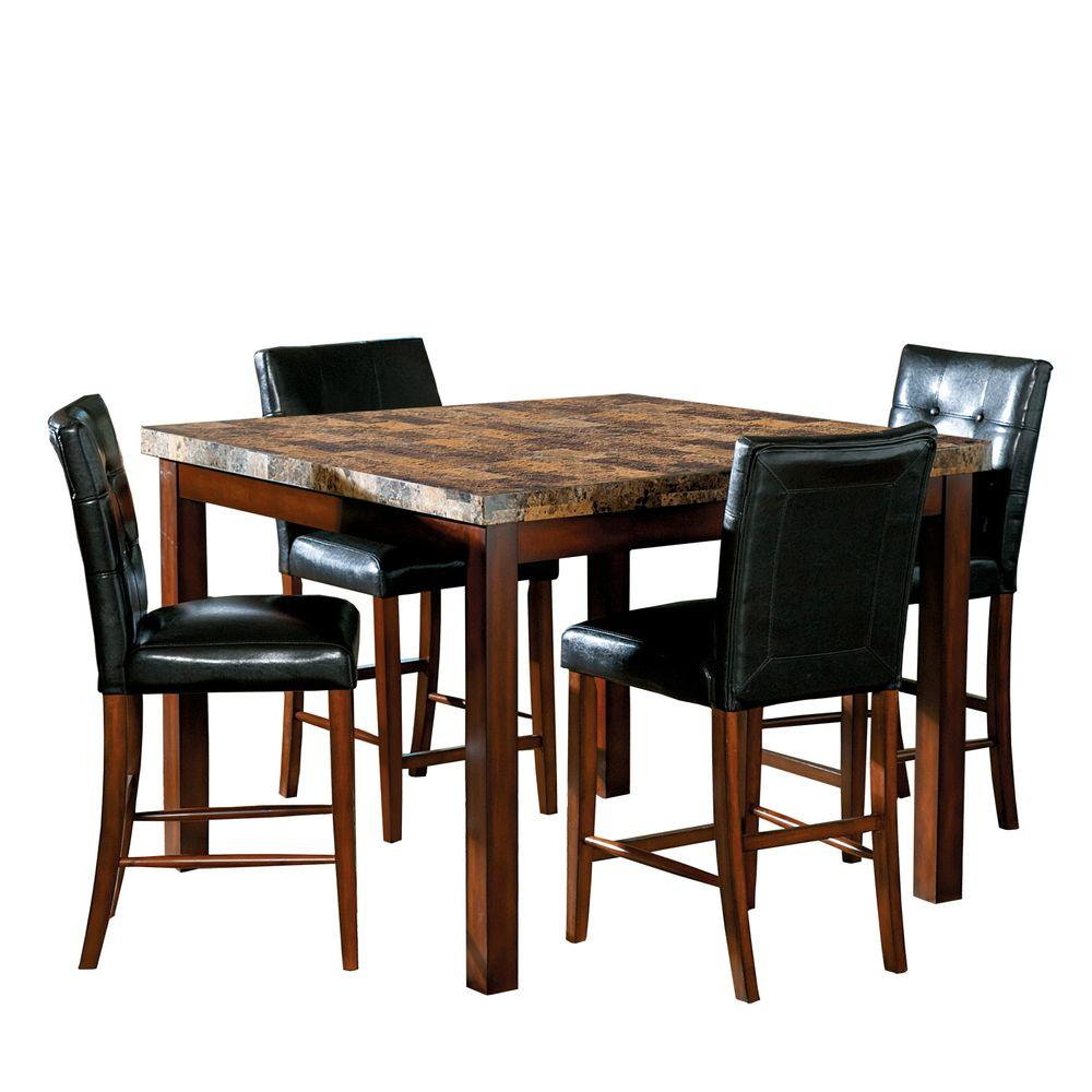 HomeSullivan Montebello 5-Piece Faux Marble Cherry Counter Height Dining Set-DISCONTINUED