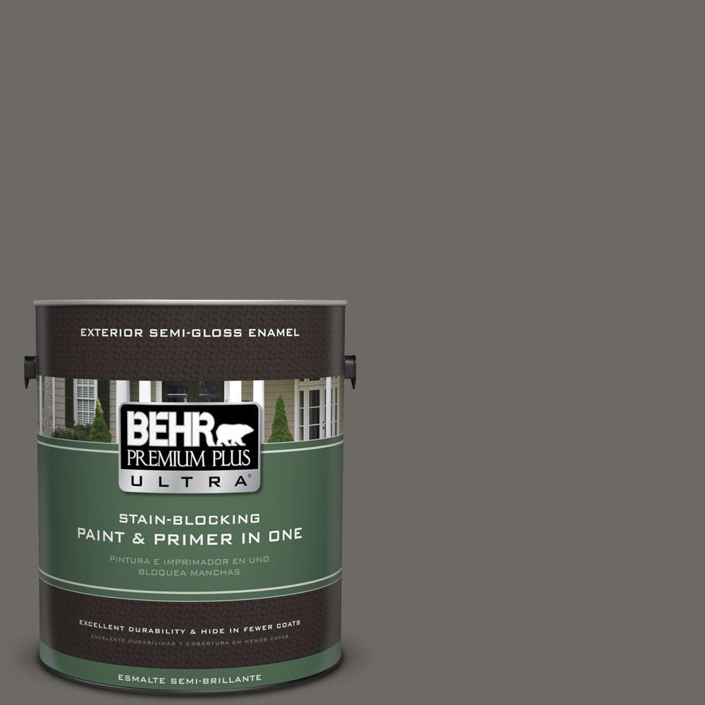 BEHR Premium Plus Ultra 1-gal. #PPU18-18 Mined Coal Semi-Gloss Enamel Exterior Paint