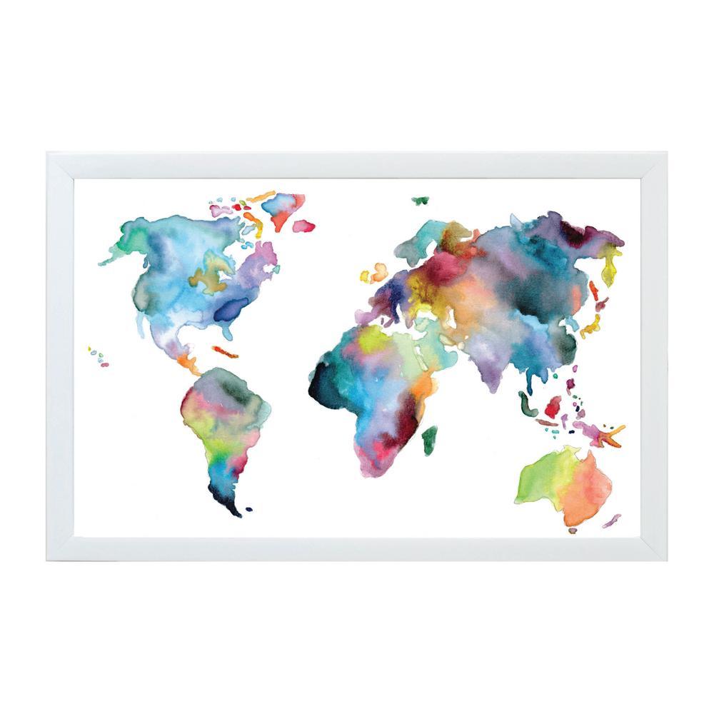 Watercolor World Map White Frame Magnetic Memo Board