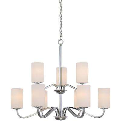 9-Light Polished Nickel Chandelier