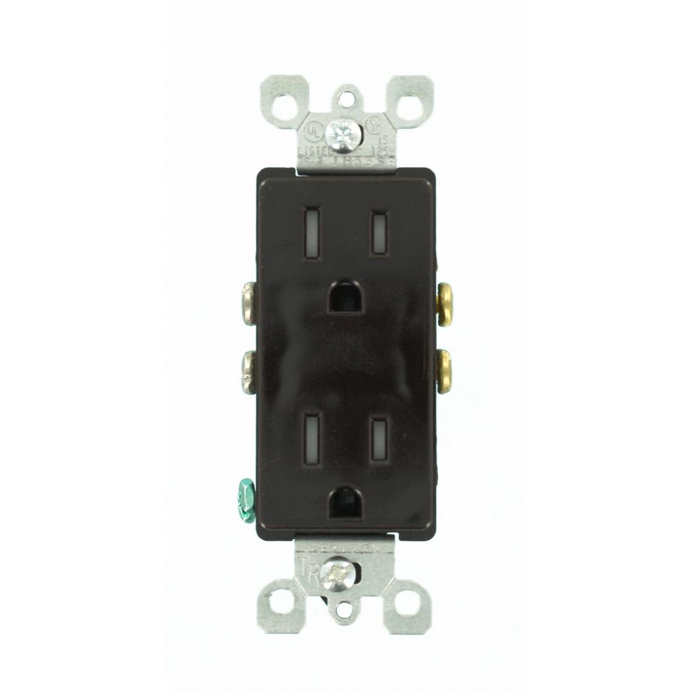 Leviton Decora 15 Amp Tamper Resistant Duplex Outlet, Brown