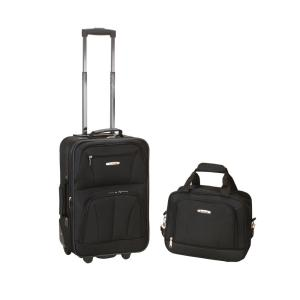 Rockland Rio Expandable 2-Piece Carry On Softside Luggage Set, Black