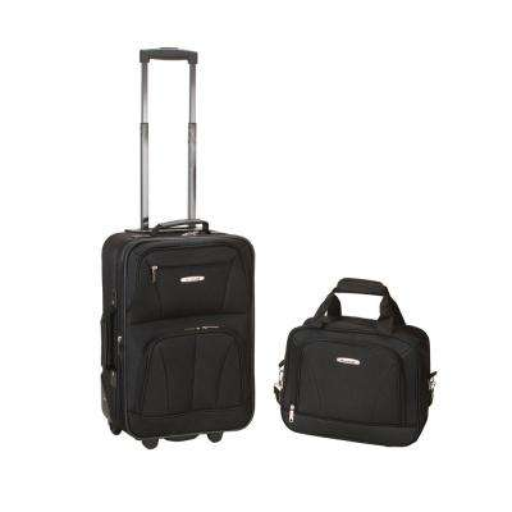 Rockland Rio Expandable 2-Piece Carry On Softside Luggage Set, Black