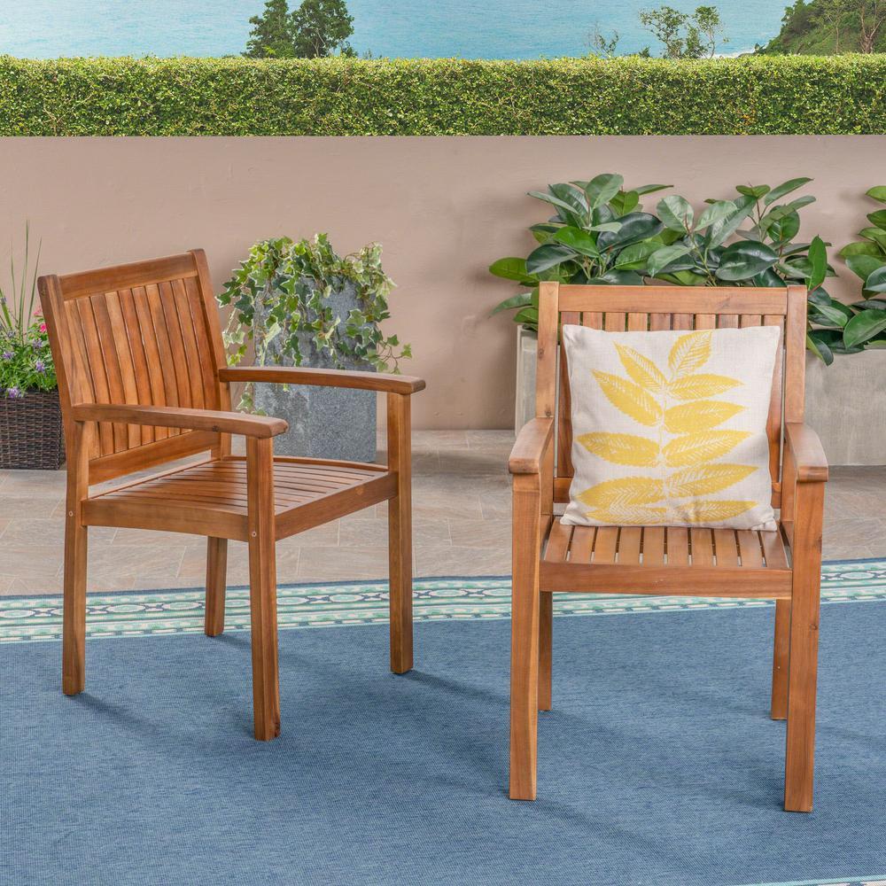 Brendan Teak Stationary Wood Outdoor Dining Chair (2-Pack)