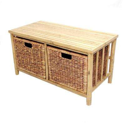 Shelly Natural and Brown Bamboo Storage Bench