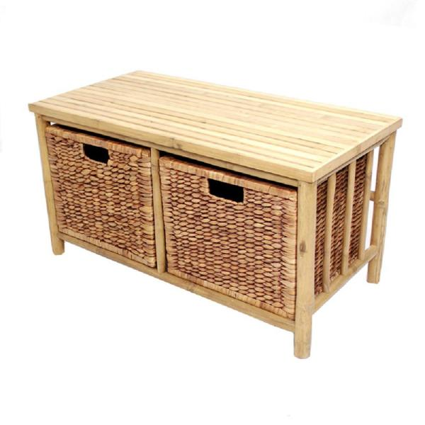 Homeroots Shelly Natural And Brown Bamboo Storage Bench