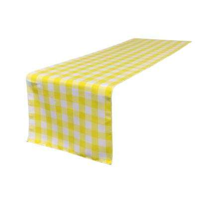 14 in. x 108 in. White and Light Yellow Polyester Gingham Checkered Table Runner
