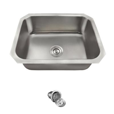 Undermount Stainless Steel 24 in. Single Bowl Kitchen Sink with Additional Accessories