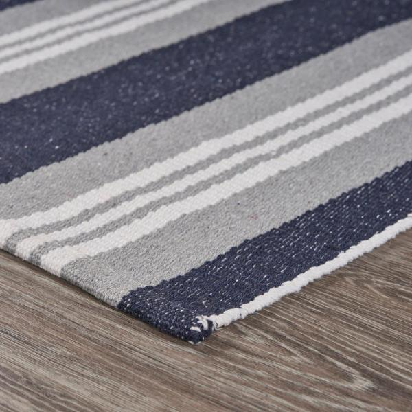 Lr Home Global Navy Blue 2 Ft 6 In X 4 Ft Coastal Striped Reversible Cotton Area Rug Speci04706igf2640 The Home Depot