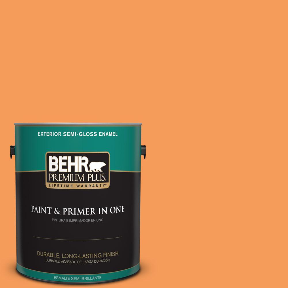 BEHR Premium Plus 1-gal. #P220-6 Bergamot Orange Semi-Gloss Enamel Exterior Paint