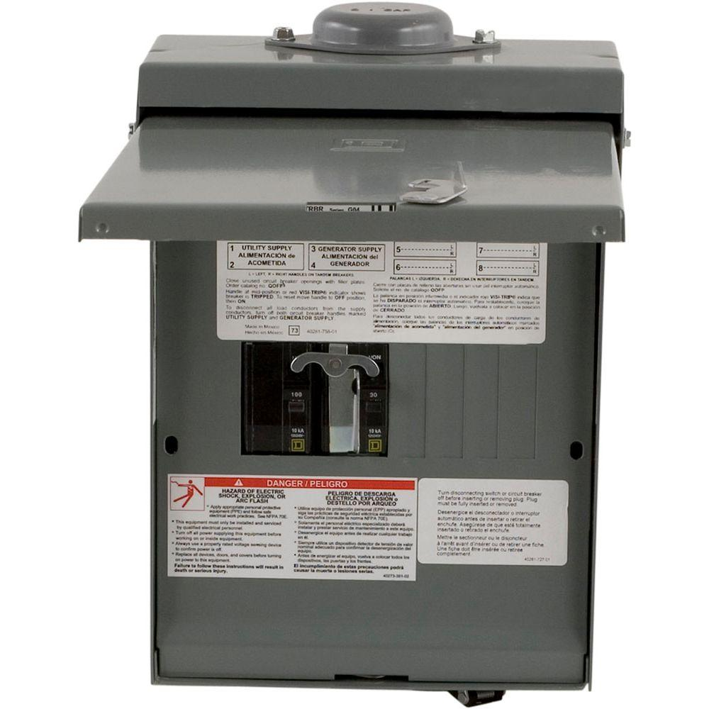 Square D QO 30-Amp 4-Space 8-Circuit Generator Main Breaker Outdoor