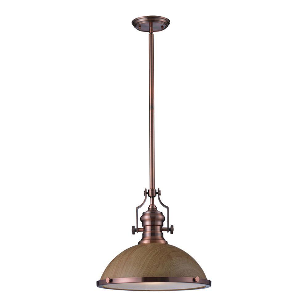 Titan Lighting Chadwick 1-Light Medium Oak and Antique Copper Ceiling Mount Pendant