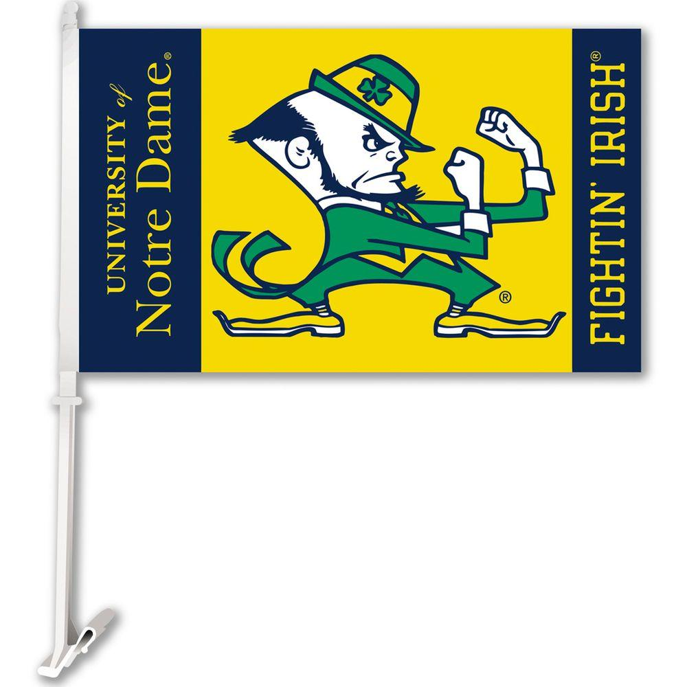 NCAA 11 in. x 18 in. Notre Dame 2-Sided Car Flag