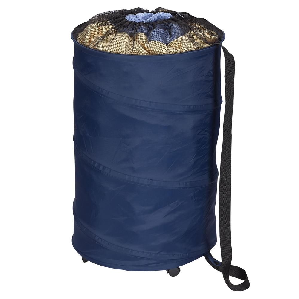 Pop Up Polyester Laundry Hamper with Wheels in Navy Blue