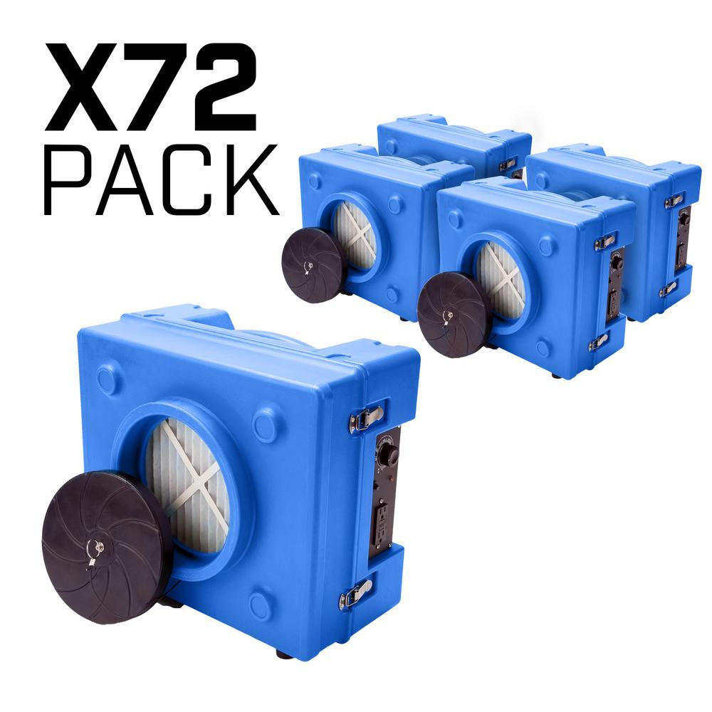 1/3 HP 2.5 Amp HEPA Air Scrubber Purifier for Water Damage Restoration Negative Air Machine in Blue (72-Pack)