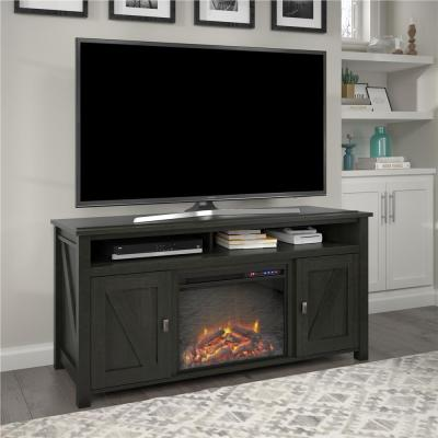 Brownwood 59.63 in. Electric Fireplace TV Stand in Black Oak
