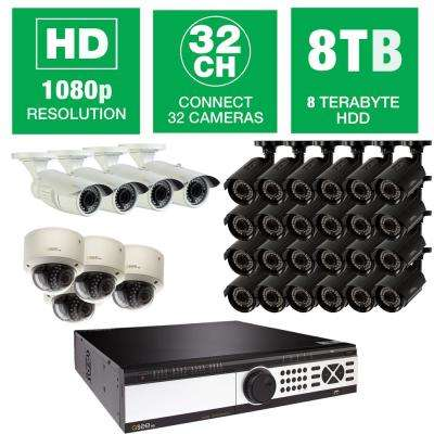 32-Channel 1080p 8TB Video Surveillance System with (24) Bullet Cameras, (4) Dome Cameras and (4) Auto-Focus Cameras