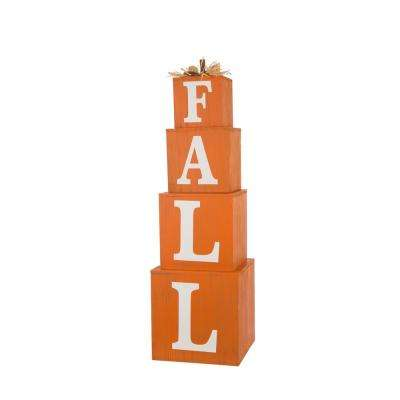 38 in. H Wooden Fall Stacked Pumpkins