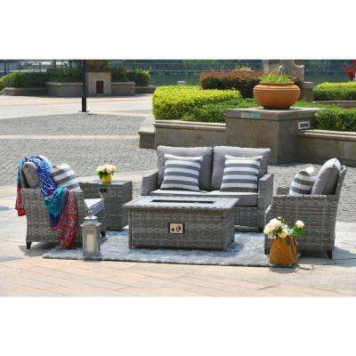 5-Piece Wicker Patio Fire Pit Sectional Seating Set with Grey Cushions