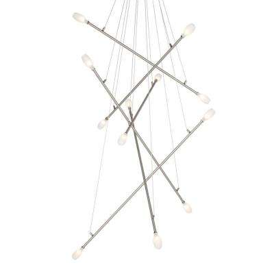 Batons 12-Light Frost Satin Nickel Hanging Chandelier