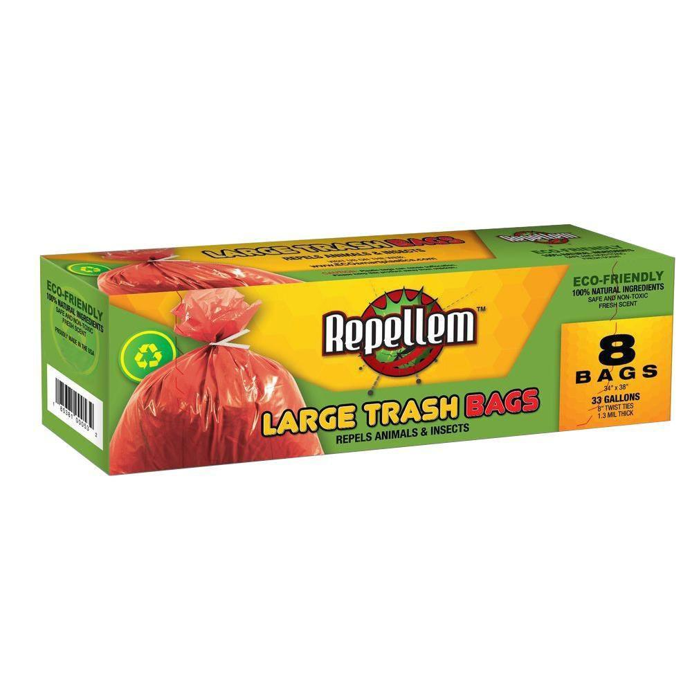 Repellem 33 Gal. Large Trash Bags (8-Count) (2-Boxes)