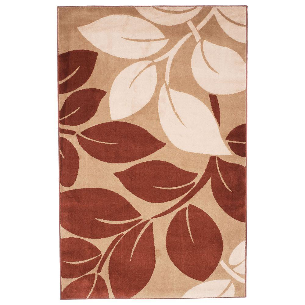 Lavish Home Leaves Brown 8 Ft X 10 Area Rug 62 7576db 810 The Depot