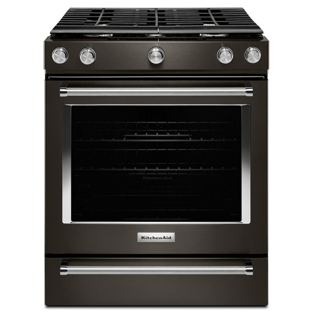 Slide In Gas Range In Black Stainless