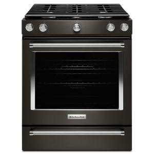 Superb KitchenAid 30 In. 5.8 Cu. Ft. Slide In Gas Range In Black  Stainless KSGG700EBS   The Home Depot