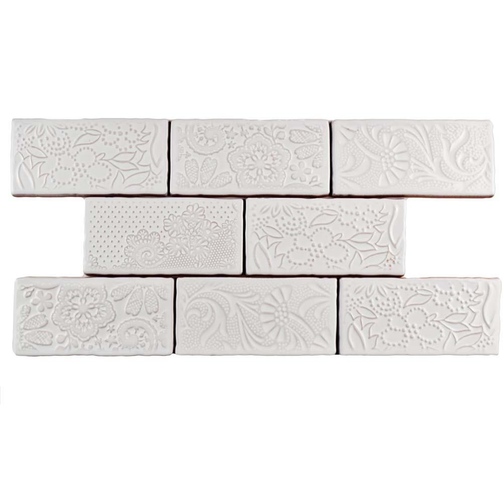 Somertile Merola Tile Antic Feelings Milk 3 in. x 6 in. C...