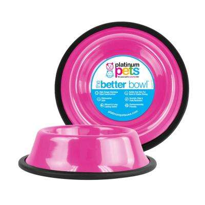 6.25 Cup Non-Tip Stainless Steel Dog Bowl, Bubble Gum Pink