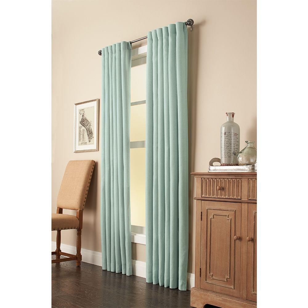 Semi-Opaque Mist Faux Linen Back Tab Curtain 50 in. W x