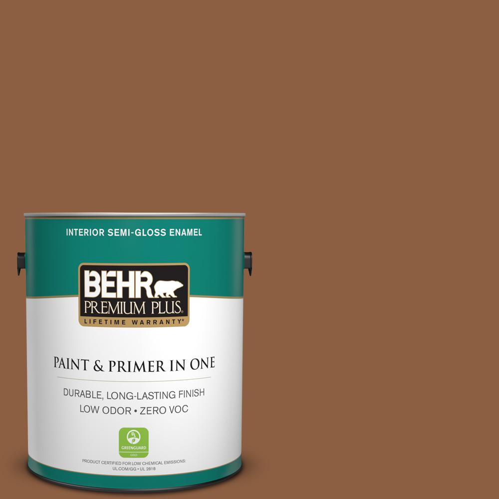 BEHR Premium Plus 1-gal. #260F-7 Caramel Latte Zero VOC Semi-Gloss Enamel Interior Paint