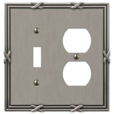 Ribbon and Reed 1 Toggle and 1 Duplex Wall Plate, Antique Nickel