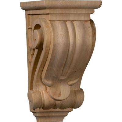 4 in. x 3-1/2 in. x 7 in. Unfinished Wood Cherry Small Classical Corbel