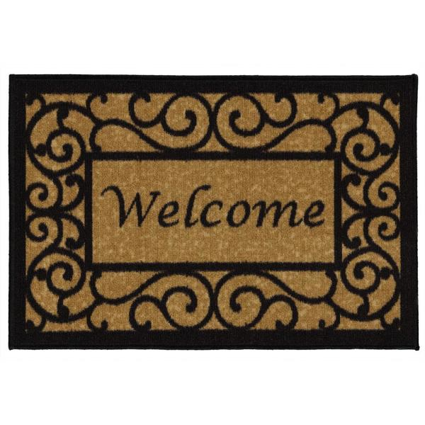 Welcome Beige 20 in. x 30 in. Non-Slip Door Mat