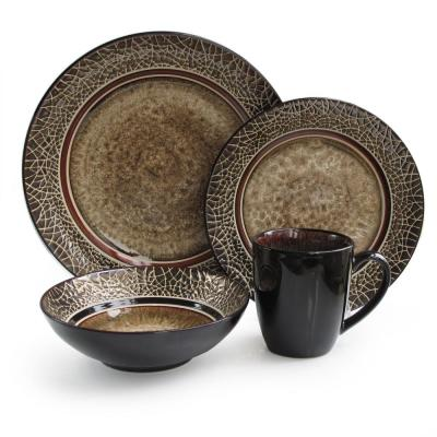 Markham 16-Piece Black and Brown Square Dinnerware Set