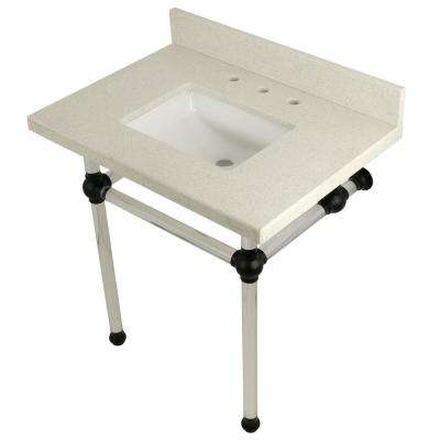 Square-Sink Washstand 30 in. Console Table in White Quartz with Acrylic Legs in Matte Black