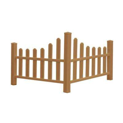 2.6 ft. H x 4.6 ft. W Brown Composite Vinyl Country Corner Picket Fence Panel