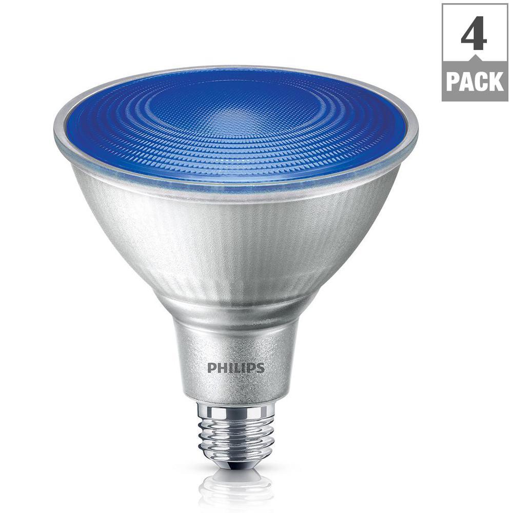 philips 90 watt equivalent par38 led flood blue 4 pack 469072 the home depot. Black Bedroom Furniture Sets. Home Design Ideas