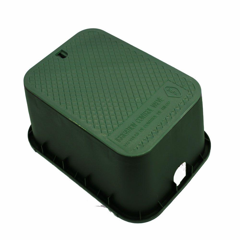 DURA 12 in. x 17 in. x 12 in. Deep Rectangular Valve Box in Green Body Green Lid