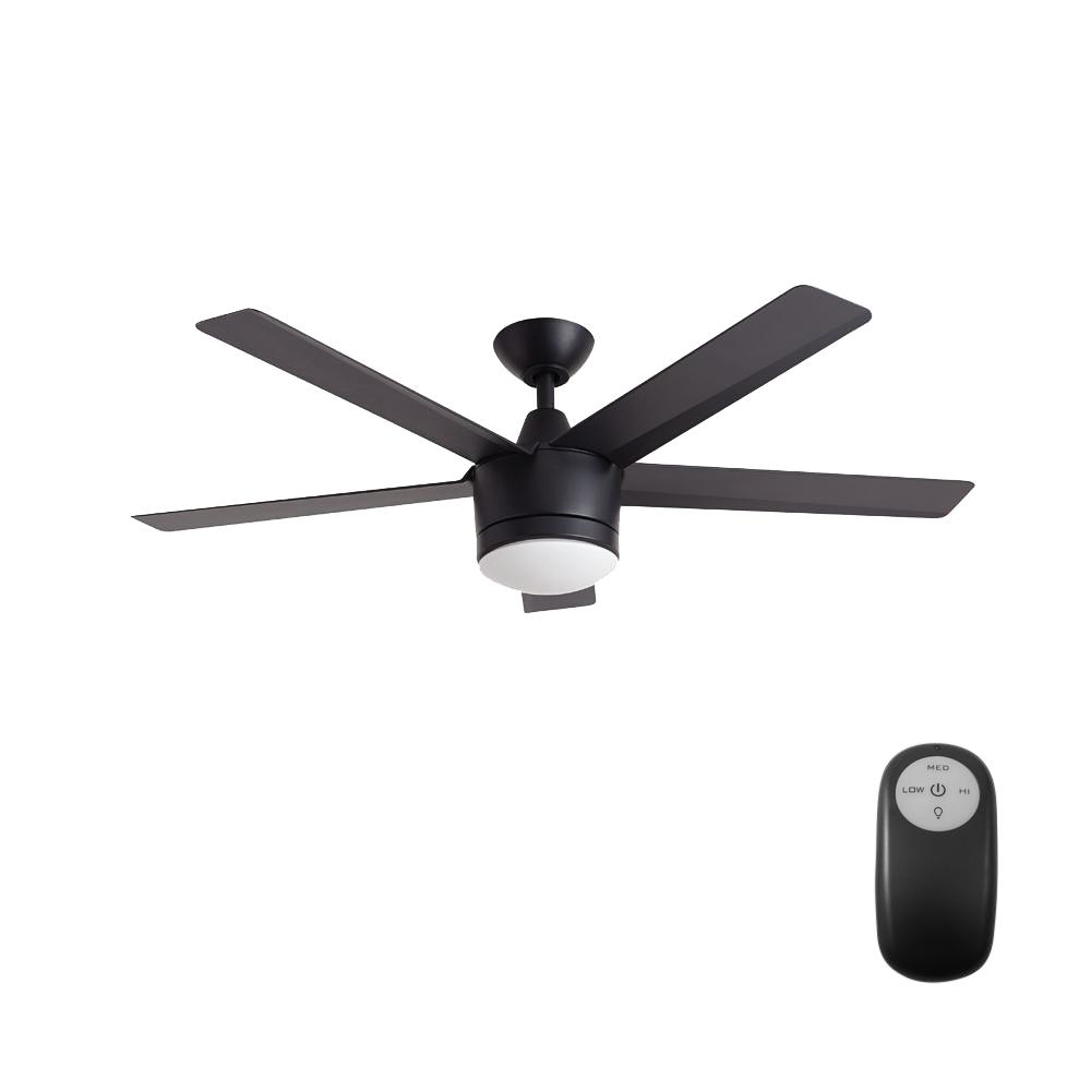 Home Decorators Collection Merwry 52 In Integrated Led Indoor Matte Black Ceiling Fan With Light Kit And Remote Control Sw1422mbk The Home Depot