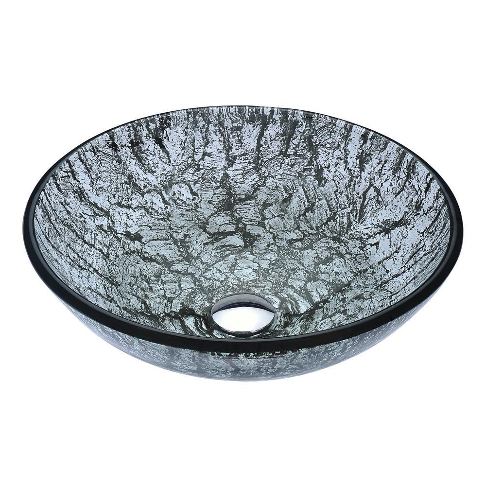 Posh Series Deco-Glass Vessel Sink in Verdure Silver