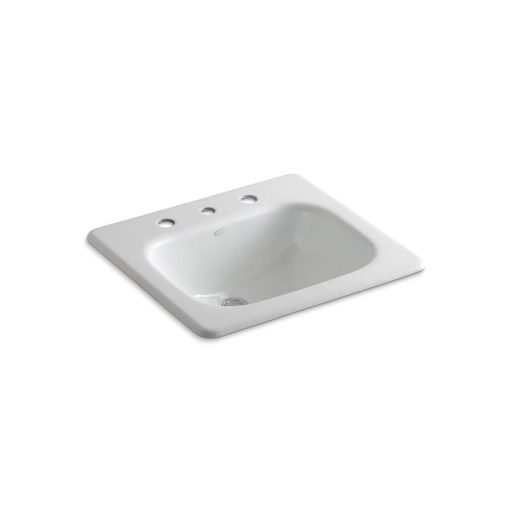 Kohler Tahoe Drop In Cast Iron Bathroom Sink In White With Overflow Drain K 2895 8 0 The Home