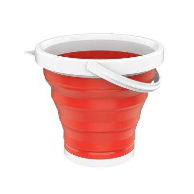 Collapsible Multi-use Portable Camping Bucket in Red