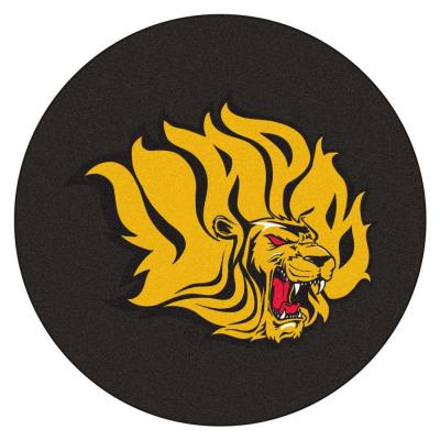 NCAA University of Arkansas at Pine Bluff Black 2 ft. 3 in. x 2 ft. 3 in. Round Accent Rug