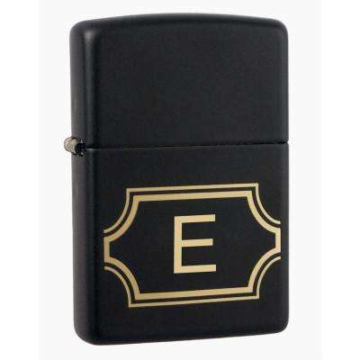 "Black Matte Lighter with Initial ""E"""